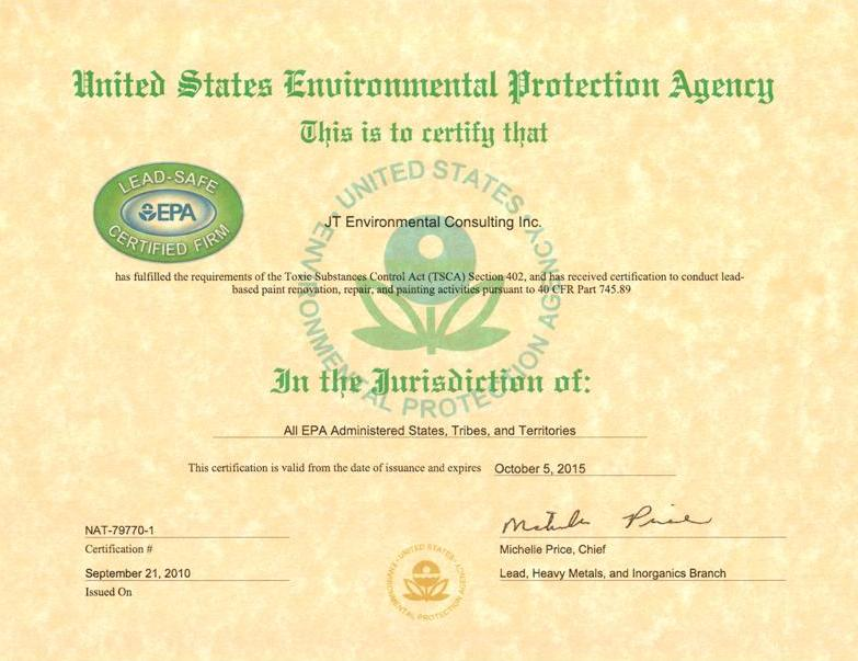 Jt Environmental Consulting Inc Is An Epa Lead Safe Certified Firm